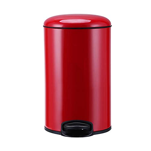 DEI QI 12L Aluminum Alloy Trash Can with Lid Pedal Trash Can Garbage Cans for Iving Room, Kitchen, Bedroom, Study, Office Garbage Bucket (Color : Red) ()