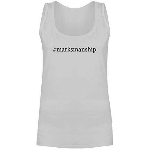 The Town Butler #Marksmanship - A Soft & Comfortable Hashtag Women's Tank Top, White, Medium