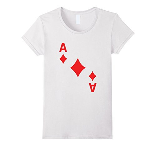Costume Vegas Halloween Contest Las (Womens Ace of Diamonds poker playing card halloween costume shirt Small)