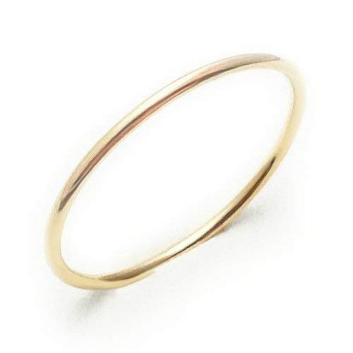 Fine Ring Platinum (Very Thin 1mm Solid Yellow Gold Ring 18K Gift for precious one and your self)