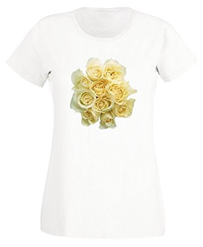 Roses Blanc Coton Femme T-shirt Col Ras Du Cou Manches Courtes White Women's T-shirt