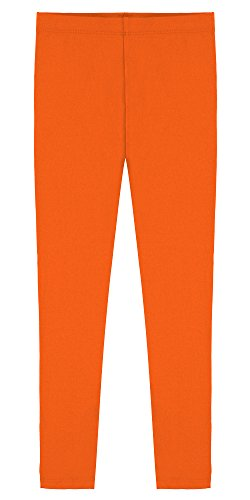 Popular Big Girl's Cotton Ankle Length Leggings - Orange - 10 -