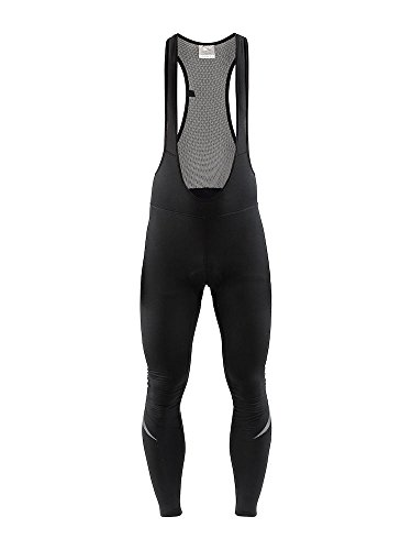 Craft Sportswear Mens Ideal Thermal Reflective Cycling Bike Riding Bib Tight Pant with C3 Pad Chamois, Black, Large