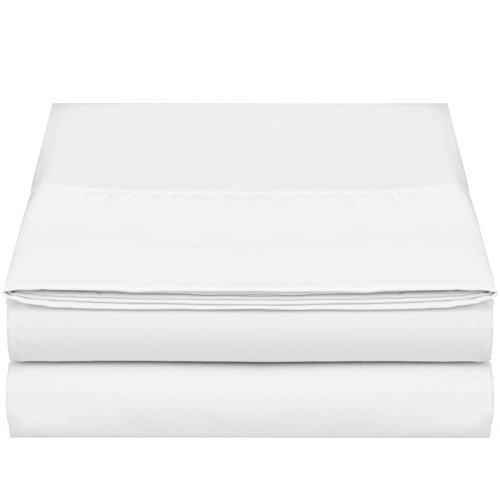 """Empyrean Bedding Premium Flat Sheet – """"110 GSM"""" Double Brushed Microfiber Extra Thick and Comfortable Flat Sheets, Luxurious & Soft Hotel Single Top Bed Sheet Hypoallergenic, Twin, White"""