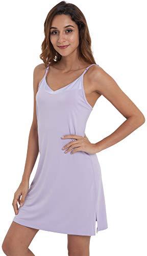 NEIWAI Womens Basic Spaghetti Strap Cami Slip Camisole Dress Taro Purple S