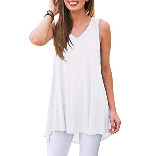 (AWULIFFAN Women's Summer Sleeveless V-Neck T-Shirt Short Sleeve Sleepwear Tunic Tops Blouse Shirts (White,S) )