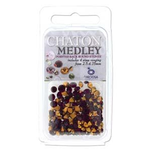 Preciosa Chaton Medley Mix Amethyst 2.5mm to 4.75mm Pointed Foil Back Round Crystal Setting Stones 5 Grams