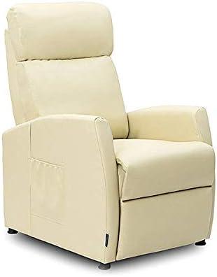 Cecotec Sillón Relax de Masaje Compact Push Back Beige. Función Calor, 5 Programas, 3 Intensidades, 8 Motores, Mando de Control, Bolsillo portaobjetos, Polipiel
