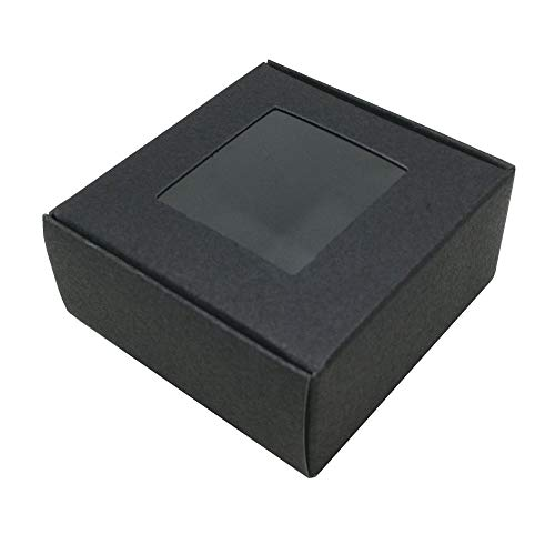 (2.6x2.6x1.1 inch) 30pcs Candy Chocolate Small Cake Cosmetics Packaging Boxes Wedding Party Small Gift Jewelry Kraft Paper Box with Window Handmade Soap Wrapping Paperboard Boxes (Black, 6.5x6.5x3cm)