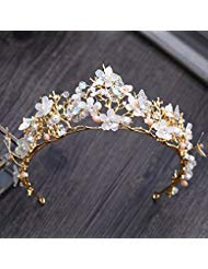 Quantity 1x Gold_ Bridal Crown Tiara Party Wedding Headband Women Bridal Princess Birthday Girl Gift Korean style Wedding Hair Wedding dress _butterfly_ flower s_ Crown Tiara Party Wedding Headband Wo