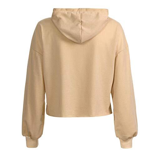 Youngii Dcontract Sweatshirt 2018 Capuche Pullover Kaki Femme Tops Automne Longue Mince Solide Blouse Manche xxrBR