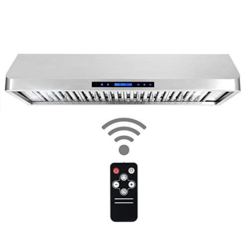 Cosmo QS48 48-in Under-Cabinet Range Hood 1000-CFM with Ducted Ductless Convertible Duct, Wireless Remote, Kitchen Stove Vent Light, 4 Speed Exhaust, Fan Timer, Permanent Filter Stainless Steel