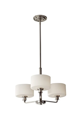 Murray Feiss Lighting Floor Lamps (Feiss F2772/3BS Kincaid 3 Light Single Tier Chandelier, Brushed Steel)