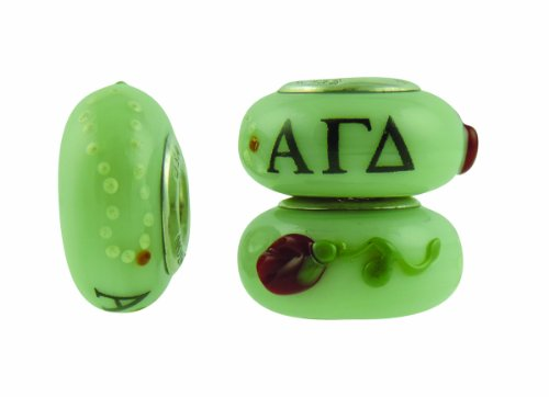 Alpha Gamma Delta Hand Painted Fenton Glass Bead Fits Most European Style Charm Bracelets