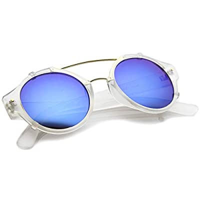 Modern Matte Finish Double Crossbar Mirrored Lens P3 Round Sunglasses 49mm