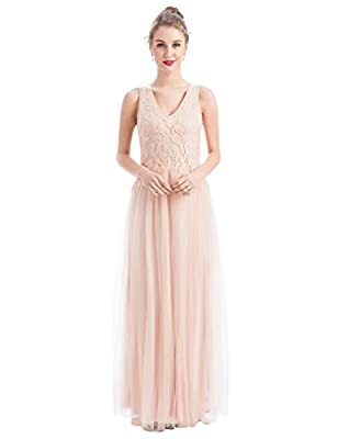 MANER Women's V-Neck Tulle Beaded Embroidered Evening Gowns Prom Party Wedding Long Dress