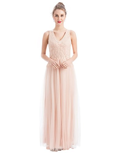 Embroidered Beaded Dress (Women's V-Neck Tulle Beaded Embroidered Evening Gowns Prom Party Wedding Long Dress(S, Pink))