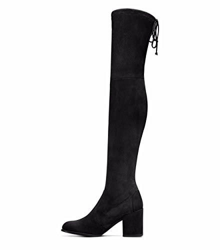 Suede Boots Autumn Black fashion winter round shoes and women's stilettos q0Oqp
