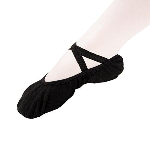 Kvinnor Damer Flickor Barn Canvas Balettskor Läderbalettskor Dans Gymnastik Balett Lägenheter Svart