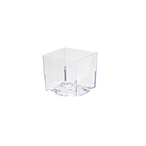 Kara Clear Green Cubic Mini Cup (Case of 20), PacknWood - Recyclable Plastic Small Cups w/o Lids (2 oz, 1.7