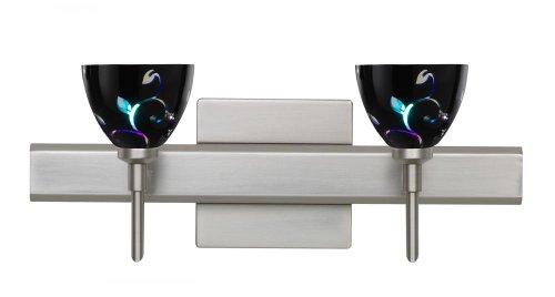 Besa Lighting 2SW-1858VB-SN-SQ Satin Nickel Finish Bath Vanity with Black Dicro Vine Glass (Sn Dicro Vine Black)