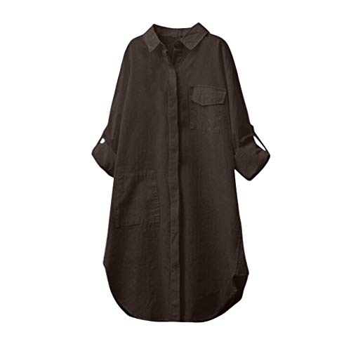 VLDO Women Summer Plus Size Cotton Linen Solid Long Sleeve Shirt Blouse Button Down Tops Brown -