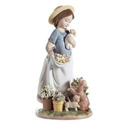 Lladro Porcelain Figurine A Romp In The Garden ()