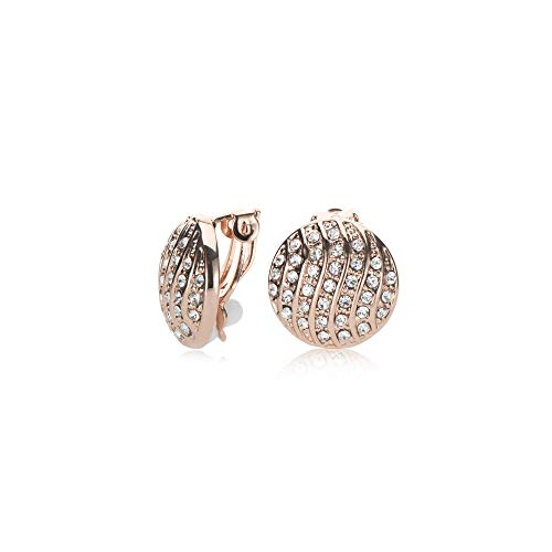 UPSERA 18K Rose Gold Plated Clip on Earrings for women Round Ear Stud Pave Crystal Fashion Non Pierced Earrings