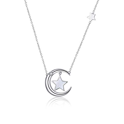 (POPLYKE Star Crescent Moon Shell Pearl Pendant Sterling Silver Necklace Jewerly Gifts for Women Girls Kid (Moon and Star Mother of Pearl Necklace))