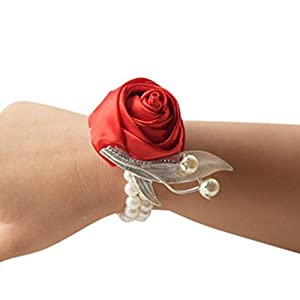he andi Fashion Wedding Bridesmaid Wrist Flower Corsage Party Hand Flower Decor with Faux Pearl Bead Wristband (2PC) (red) 98