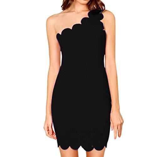 REYO Womens Sexy One Shoulder Mini Dress Summer Elegant Sleeveless Backless Fashion Solid Skew Neck Bodycon Dress Black