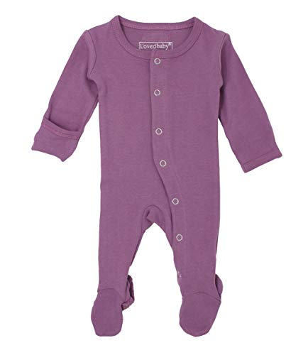 L'ovedbaby Unisex-Baby Organic Cotton Footed Overall (9-12 Months, Grape)