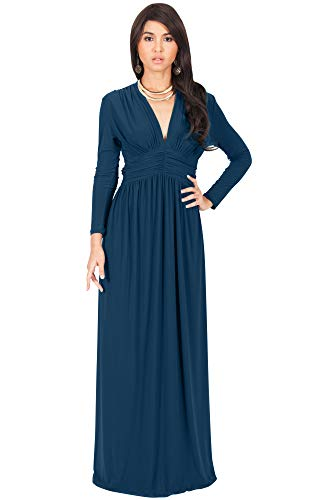 KOH KOH Plus Size Womens Long Sleeve Sleeves Vintage V-Neck Autumn Fall Winter Formal Evening Casual Flowy Maternity Abaya Muslim Islamic Cute Gown Gowns Maxi Dresses, Blue Teal XL 14-16