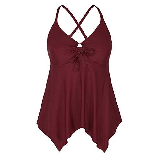 (Vowes Women's Plus Size Control Swimwear Flowy Tankini Top 1 Pieces Swimwear Vest Tankini Top )