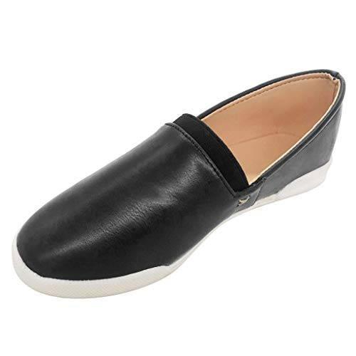 TnaIolral Ladies Loafers Shoes Shallow Flat Round Toe Casual Roman Boat Sneaker (US:9, Black)