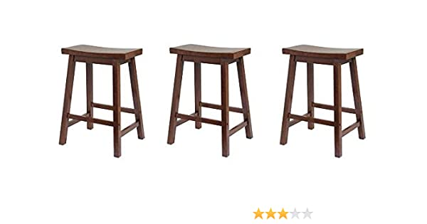 Terrific Winsome Saddle Seat 24 Inch Counter Stool Walnut 3 Pack Alphanode Cool Chair Designs And Ideas Alphanodeonline