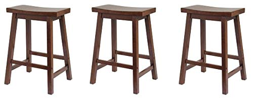Winsome.. Saddle Seat 24-Inch Counter Stool, Walnut (3-(Pack))