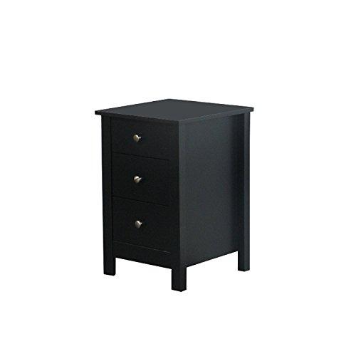 schwarze Nachttische mit drei Schubladen