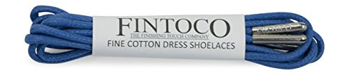 Fintoco Round Waxed Designer Dress Shoe Laces With Metal Tips Pastel Blue With Silver Tips janHdudJg