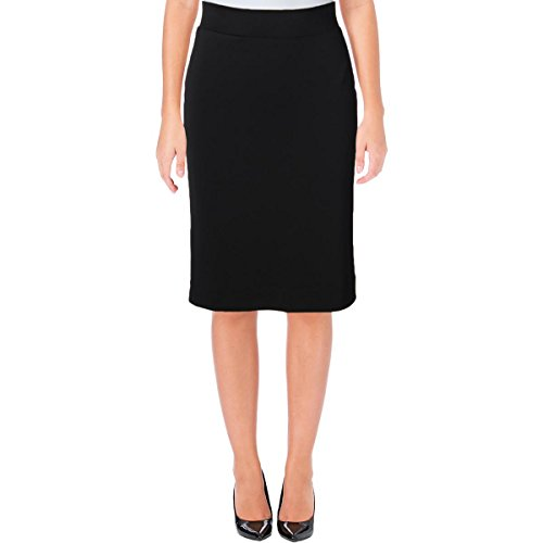 Kasper Womens Knit Knee Length Pencil Skirt Black M