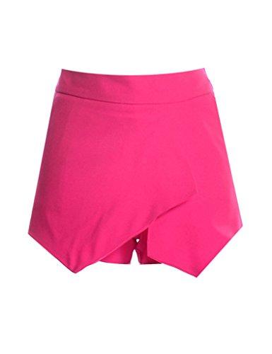 pure Bestgift culotte irrgulier couleur Jupe Femme Rose wqHqxpz