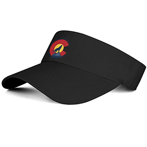 Mens Womens Sun Sports Visor Black Hat Colorado Rocky Mountain Wolf Trucker Visors Beanie Vintage Cap