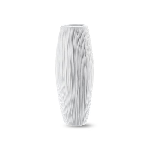 8'' Small Oval Pure White Ceramic Flower Vase - Waterfall Textured Elegant Design - Ideal Gifts for Friends and Family ()