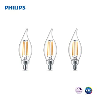 Philips LED Classic Glass Dimmable BA11 Bent Tip Light Bulb: 300-Luman, 5000-Kelvin, 4.5-Watt (40-Watt Equivalent), E12 Base, Clear, Daylight, 3-Pack