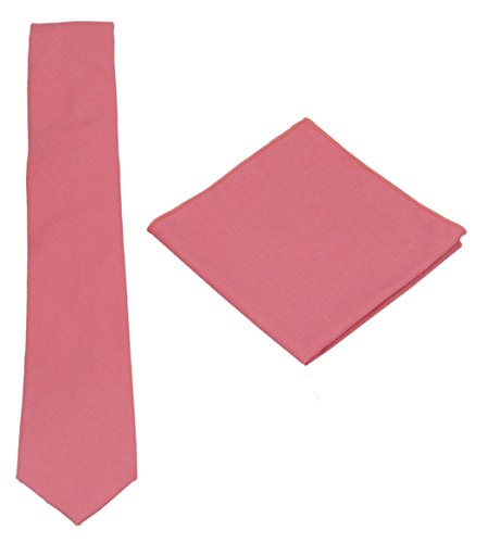 Tie Linen Cotton (Various Solids Mens Linen Tie Set:Necktie + Pocket Square (Coral))