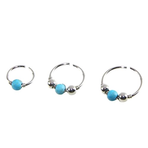 (Paymenow Clearance Earrings for Women Girls, 2018 New Women Stainless Steel Nose Ring Handmade Turquoise Bead Hoops Earrings (8mm))