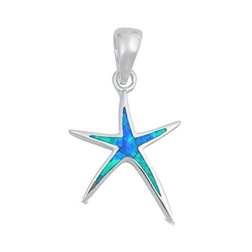 Lab Created Blue Opal Starfish .925 Sterling Silver Pendant