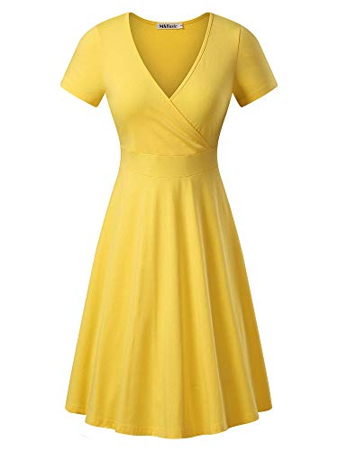 MSBASIC Short Sleeve Yellow Dress, Halloween Dress A Line Party Dress X-Large