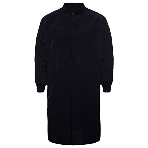 Abetteric Men's Pure Colour Cotton Islamic Muslim Dress Arab Middle Eastern Black L by Abetteric