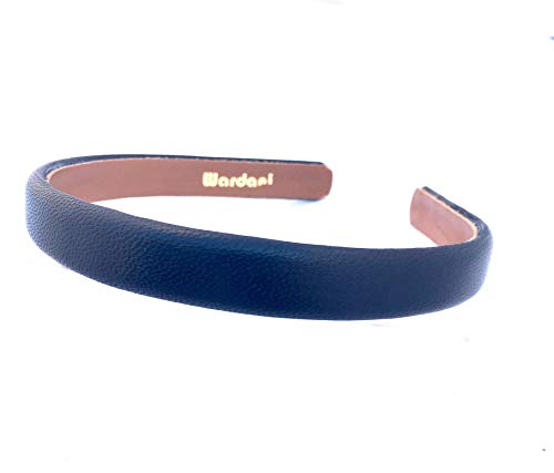 (1.5 CM wide lambskin leather headband, handmade in USA comfortable all day hold (Navy-Blue))